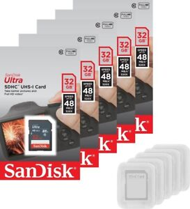 5 Pack SanDisk Ultra 48MB/s 32GB Class 10 SD SDHC 320X UHS-I Flash Memory Card