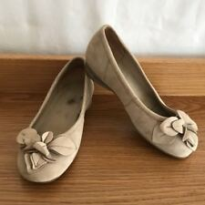 ZIERA (kumfs) Beige Leather Rain Skimmers Ballet Flats Loafers Flower 37.5 6.5