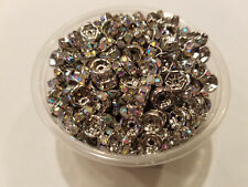 50 crystal stone silver case 6mm jeweled wedding rings