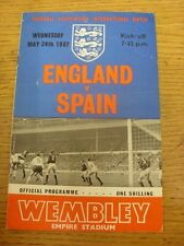 24/05/1967 England v Spain [At Wembley] (slight creased). Item appears to be in