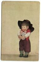Kathe Kruse DOLL holding 2 little dolls Signed Dutch advertising  postcard