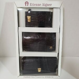 ETIENNE AIGNER Croc BLACK 3-PC Wallet Checkbook Cosmetic Case ID Holder Gift