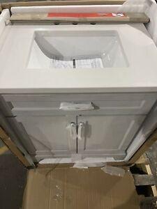 allen + roth Felix 30-in Vintage Gray Single Sink Bathroom Vanity with White ...