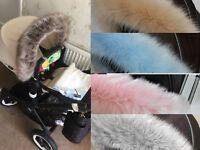 Hood fur trim pushchair, pram fit bugaboo cameleon frog donkey universal fit