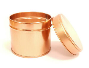 10x Round Candle Tin Rose Gold 250ml Metal Tin For WAX Soy Making Container Jar