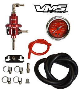 VMS RACING ADJUSTABLE FUEL PRESSURE REGULATOR GAUGE KIT RED FOR HONDA CIVIC