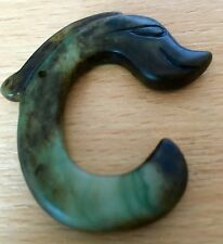 Chinesisches Jade Amulett Pendant Anhänger China chinese Hand carved pig dragon