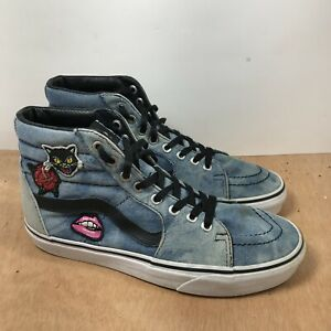 VANS Sk8-Hi Women Size 9 Washed Denim Blue Skate Sneakers With Patches