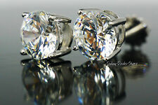 4.05 ctw Stud Earrings Brilliant screwback VVS1/D round cut real 14K white gold