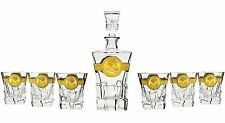 21 Oz Crystal Decanter and Six 7.7 Oz Heavy Base Whisky Tumblers, 1+6-Piece Set