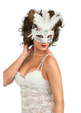 Black White Silver Feather Venetian Carnival Eyemask
