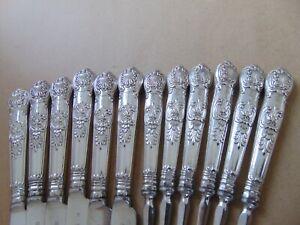 RARE GEORGIAN STERLING SILVER HANDLED KING'S PATTERN CREST KNIV?S & FORKS 1828