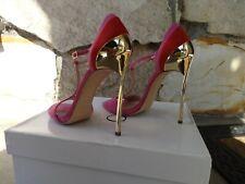 Casadei Skyhigh Techno Blade T-Strap Pink Suede Sandals EU size 10