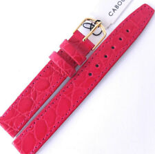 14mm CABOUCHON CROC GRAIN LEATHER WATCH STRAP. DEEP PINK GOLD or SILVER BUCKLE