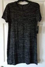 $68 NWT RDI Black Womens Slub Knit Pocket Hi-Low Shirt Dress Size M Medium