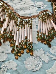 VICTORIAN Lampwork GLASS BEADED Lampshade FRINGE Opaline Tube Beads *SCARCE ORIG
