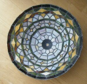 Vintage Tiffany-Style Mission Arts & Crafts Stained Slag Glass Lamp Shade