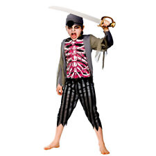 Boys Jolly Rotten Zombie Pirate Costume Scary Halloween Fancy Dress Outfit Large