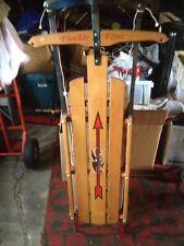 "Vintage Antique Flexible Flyer III 3 Red Metal Wood Snow Sled 48"""