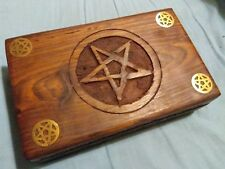 NEW LARGE WOODEN PENTAGRAM PAGAN, TAROT, WICCA, BOX