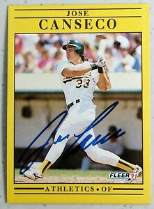JOSE CANSECO AUTO SIGNED AUTOGRAPH BASEBALL CARD 1991 FLEER