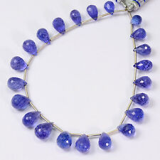 86.9CT Tanzanite Faceted Full Teardrop Briolettes Beads 8 inch Strand