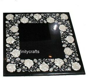 16 Inches Black End Table Top Marble Patio Side Table Inlay with Mother of Pearl