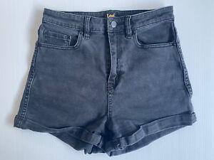 LEE Size 10 Women Shorts - Black High Rise Denim Shorts