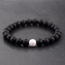 Women Men's Natural Stone Howlite & Onyx Beads Fashion Bracelets Fashion Jewelry