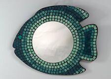 Fish Glass Wall Mirror - ocean aqua green teal - sea-life mosaic FREE SHIPPING!