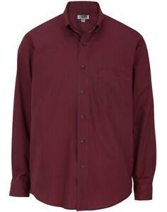 Brand New Edwards Burgundy Lightweight Poplin Long Sleeve Shirt Size Large