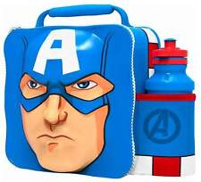 Marvel Avengers Captain America Thermal 3D Lunch Bag Box & Drink Bottle Set