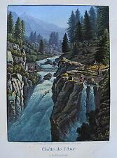 Wasserfall Aar Handeck Handegg Bern Schweiz alte altkolorierte Aquatinta 1840