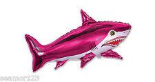 "10 X Fuschia Shark Helium Foil Balloons 30""/75cm.h x 42""/105cm.w 901643"