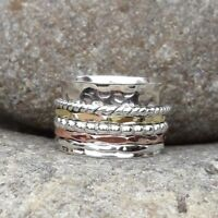 925 Sterling Silver Band & Brass Spinner Ring Jewelry Handmade All Size DO-20