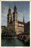 Zürich Schweiz Color Postkarte ~1920/30 Blick über den Fluß auf das Großmünster