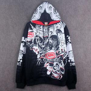 Mens Graffiti Hooded Street Dance Hip-Hop Jacket Sweater Casual Hoodies Cardigan