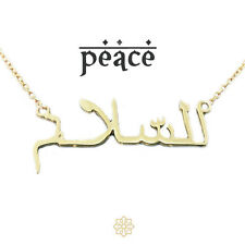 Arabic word mantra PEACE gold plated Necklace & gift box, style gift for her