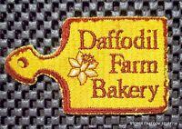 """DAFFODIL FARM BAKERY EMBROIDERED SEW ON PATCH UNIFORM ADVERTISING 3 1/4"""" x 2"""""""
