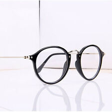 Unisex Jahrgang Nerd Brille filigran Rund Glasses Klarglas Hornbrille Eyewear