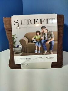 """Sure Fit- Suede Sofa Slipcover, Chocolate, 74""""-96"""""""