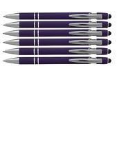 Purple Rainbow Soft Touch Rubberized  Ballpoint Metal Pen W/Stylus Pen Black Ink