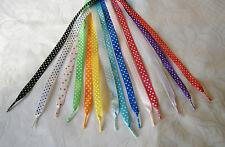 "Satin Polka Dot /Spotty Ribbon Laces - Adults, Junior,Inf - 3/8"" (10mm)"