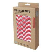 Kikkerland Red Striped Design Paper Straws - Box of 144