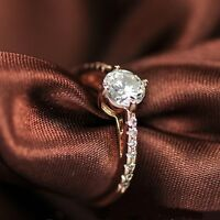 18K Rose Gold Plated Simulated Diamond Round Cut Side Stone Engagement Ring