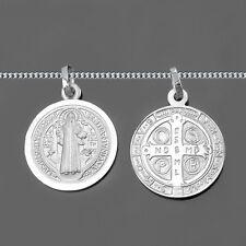 Sankt Benedikt Benediktus Kreuz Medaille Benediktuskreuz + Kette Echt Silber 925