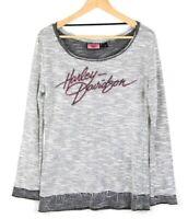Harley Davidson Womens Small Long Sleeve Scoop Neck Shirt Black White Rhinestone