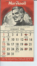 AS-021 - Maryknoll Catholic Calendar for 1956 Missionary, full pad