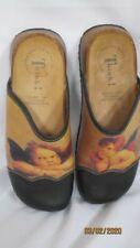 Think! Black Cherub Clogs Shoes 37 Cork Rubber Soles