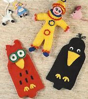 Hot Water Bottle Covers, Clown, Mouse, Crow, Pram Toys Knitting Patterns  942